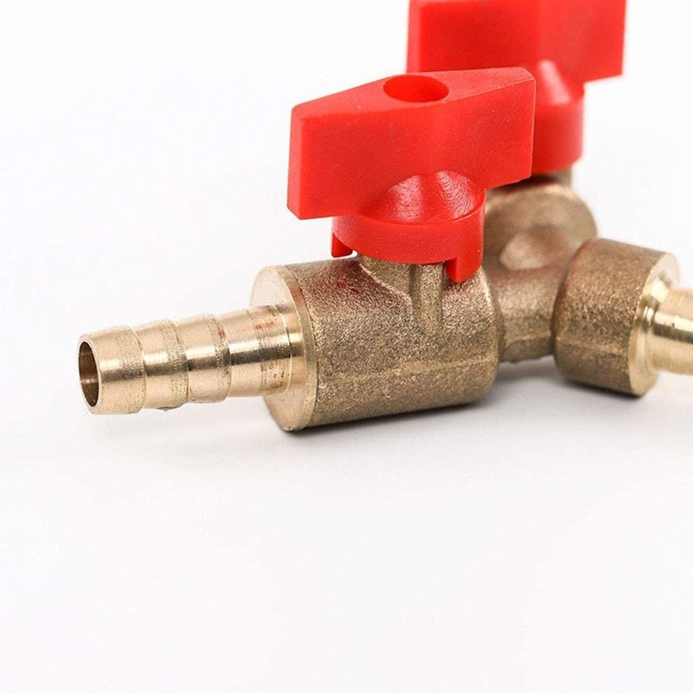 Heren 8mm Hose Barb Y Type Three Way Brass Shut Off Ball Valve Pipe Fitting Connector Adapter for Fuel Gas Water Oil Air