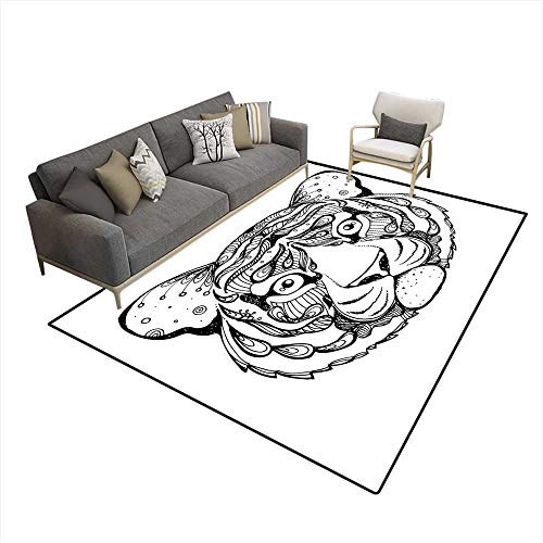 Kids Carpet Playmat Rug Hand Drawn Ink Doodle Tiger on White Background Coloring Page Design forr Adults Poster Print Tshirt Invitation Banners 5'x7' (W150cm x L210cm