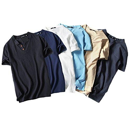 In Top Fit Maglietta Lino Cotone Maglia Dorical Morbido Slim Estate Corta T A shirt Beige Unita Uomo Tinta E Casual Da Manica Con aS110p