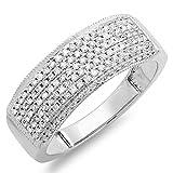 0.50 Carat (ctw) 14k White Gold Round Real Diamond Ladies Anniversary Band Wedding Ring 1/2 CT (Size 5.5)