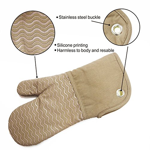 Heat Resistant Kitchen Oven Mitts 500 Degrees With Non-Slip Silicone Printed Set of 2 Oven Gloves for BBQ Cooking set Baking Grilling Barbecue Microwave Machine Washable Women and Man (Brown, Printed) by EnjoyLife Inc (Image #2)