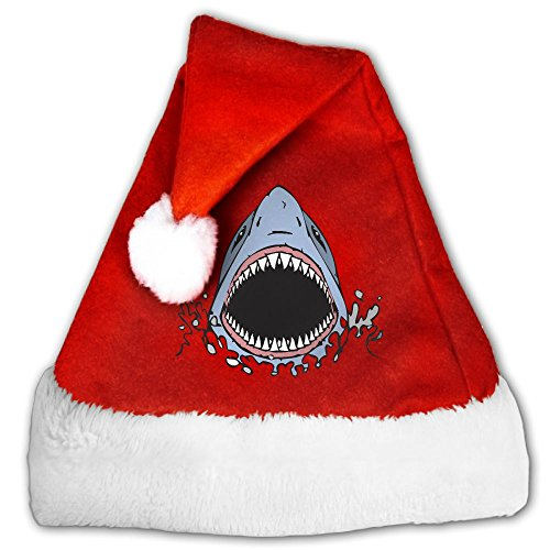 Scuba Diver And Shark Costume (Gask-L Great White Shark Bite Santa Hat Soft Plush For Adults And Children)