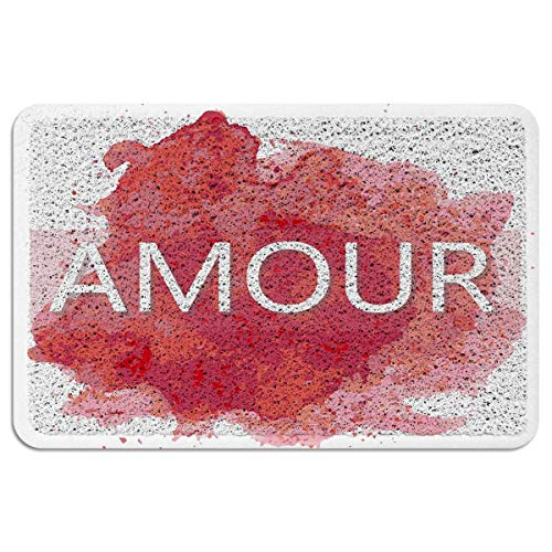 MUSEDAY Indoor/Outdoor Doormat,Art Decor Durable Heavy Duty Shoes Scraper Mat, Amour Watercolor Effect Creative Timeless Easy Clean Rug for Pet Bowl(18