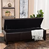 Skyler Brown Leather Storage Ottoman Bench