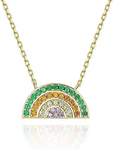 Rainbow Necklace Circle Multi Colour Necklace Silver Crystal Necklace Crystal Necklace Circle Pendant 16 Necklace Silver Necklace