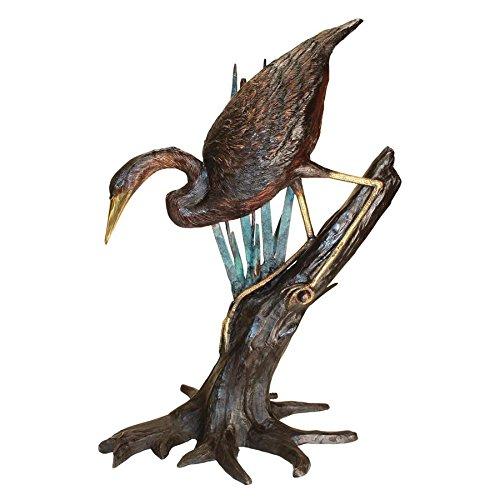 Design Toscano Fishing Heron in Reeds Cast Bronze Garden Statue