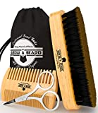Beard Brush & Comb Set for Mens Care | Christmas Giveaway Mustache Scissors | Gift Box & Travel Bag | Best Bamboo Grooming Kit to Distribute Balm or Oil for Growth & Styling | Adds Shine & Softness