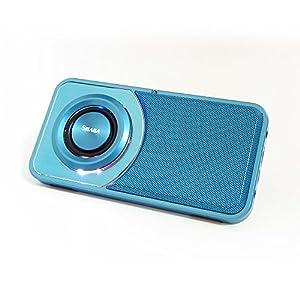 SHABA Ultra Slim Pocket Portable Bluetooth Speaker with Phone Stand, LED Light, TF Card, FM Radio, Speakerphone, Recorder (Blue)