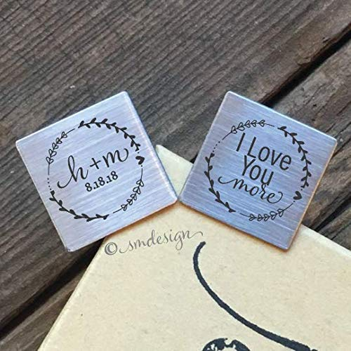 I Love You More Cufflinks- Personalized Gift for Groom from Bride on Wedding Day Husband Gift from Wife Anniversary Gift Birthday Gift Mens