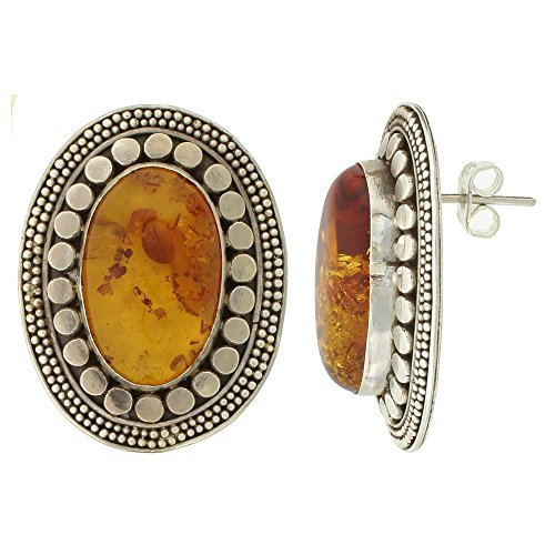 Sterling Silver Oval-shaped Earrings, 20 x 12 mm Cabochon Cut Russian Baltic Amber Stone, 1 3/16 inch tall (Sterling Silver Amber Cabochon Earrings)