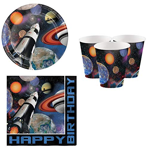 Fancy Me Boys Girls Adults Space Astronaut Galaxy Planets Spaceship Birthday Party Plates Cups Napkins Tableware Decorations Accessories (Tableware Set)