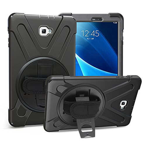 Samsung Galaxy Tab A 10.1 Case, Heavy Duty Rugged Full-Body Hybrid Shockproof Drop Protection Cover with Kickstand and Hand Strap for for Galaxy Tab A 10.1 Inch Tablet SM-T580/T585 (Black)