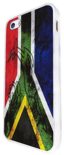 587 - South African Flag Fun Design iphone SE - 2016 Coque Fashion Trend Case Coque Protection Cover plastique et métal - Blanc