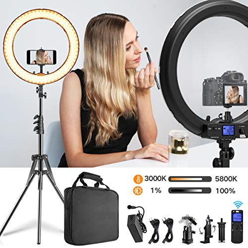 Pixel LED Ring Light with Rmote Control, 19 inch Bi-Color Dimmable Ring Light with Stand, Carrying Bag for Camera, Smartphone, YouTube, Makeup, Self-Portrait Shooting, Photography, Live Streaming (Best Professional Camera For Portraits)