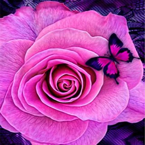 (Clearance Sale! DIY 5D Retro Flower Diamond Paintings by Number Kits Iuhan 5D Embroidery Paintings Rhinestone Pasted DIY Diamond Painting Cross Stitch (E))