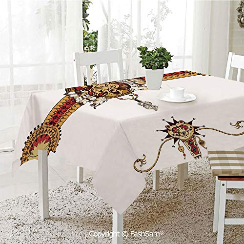 3D Print Table Cloths Cover Hand Drawn Tribal Illustration with Ethnic Animal Bear Totem Abstract Decorative Table Protectors for Family Dinners (W55 xL72)