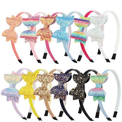 Sequin Hair Band - XIMA Girls Headband Sequin Glitter BowsHairband Hair Accessories Children Lovely Hair Bands Back to School Bow Headbands (12pcs-Glitter Bow Headband)