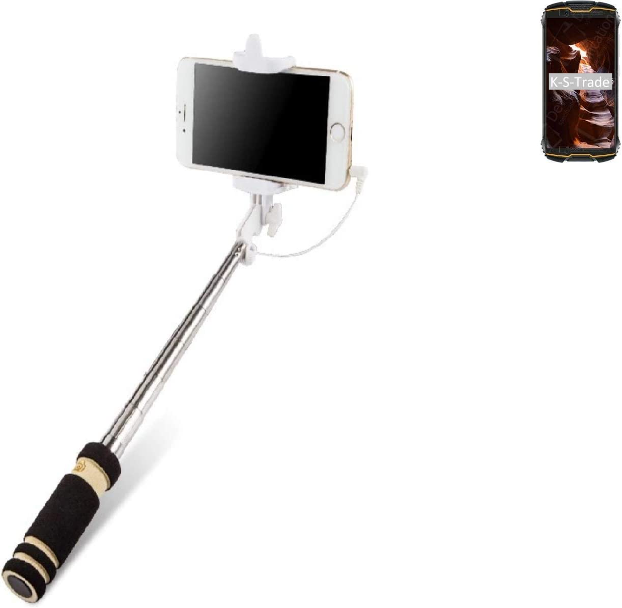 K-S-Trade® Selfie Stick Palillo para Cubot King Kong Mini, Negro ...