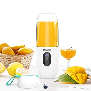 Portable Blender 17.5 Oz for Smoothies and Milk Shakes, Realfit Mini Handheld LCD Juicer Cup 4800mAh USB Rechargeable with Six Blades for Home and Outdoors(White)