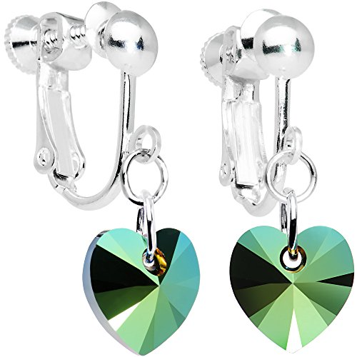 Body Candy Handcrafted Green Heart Clip Earrings Created with Swarovski Crystals