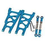 Mxfans RC Blue Aluminum Alloy SLA007 SLA013 Front/Rear Suspension Arms and Servo Link Upgrade Parts for TRAXXAS SLASH 4X4 & HQ 727 Short Truck Pack of 2