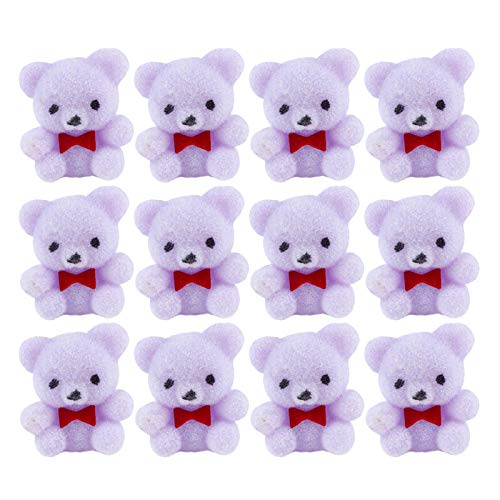 (Factory Direct Craft Package of 24 Sitting Flocked Lavender Miniature Teddy Bears | Tiny Bears for Favors, Crafts and More)