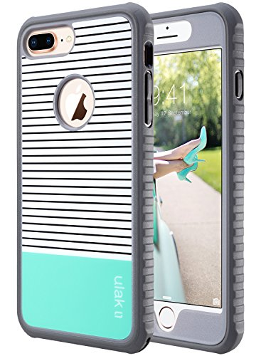 ULAK iPhone 8 Plus Case, Heavy Duty Shockproof Flexible TPU Bumper Case Durable Anti-Slip Lightweight Front and Back Hard Protective Safe Grip Cover for Apple iPhone 8 Plus Mint Stripes Minimal
