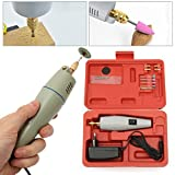 GOCHANGE 17-Pcs Electric Grinder Rotary Tool and Accessories Kit / Micro Precision Electrical Hand Drill Set with 15-Pcs Accessories, Grey