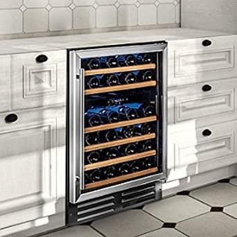 wine enthusiast classic 46 dual zone wine cellar stainless steel trim - Dual Zone Wine Cooler