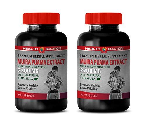 Male Enhancing Pills Sex Drive - Muira PUAMA Extract 2200 Mg - Male Enhancement Pills - Brain Booster Vitamins - 2 Bottles 180 Capsules