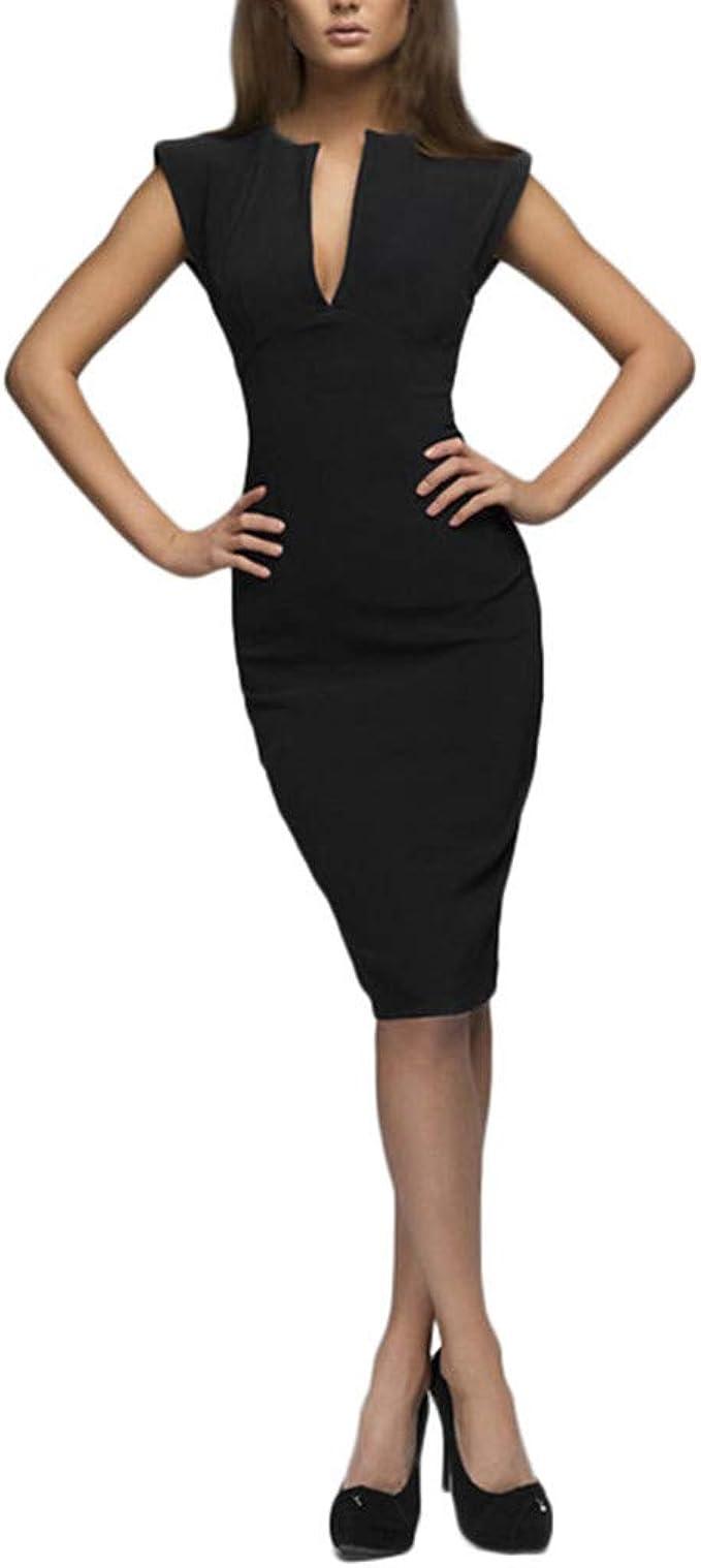 Shenye Damen Elegante Etuikleider Festliches Cocktail-Bleistift-Kleid  Knielange Business-Kleider Tiefer V-Ausschnitt Dünnes Ärmelloses Etuikleid