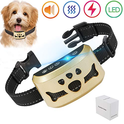 - lushujun Stop Barking Collar for Small Medium Large Dogs, No Bark Collar with 7 Adjustable Intensity Levels, Rechargeable and Rainproof Anti Bark Collar (Neck Size:6.5-24'')
