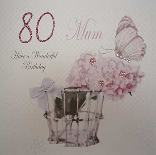 WHITE COTTON CARDS 80 Mum Have A Wonderful Handmade Vintage 80th Birthday Card Code Pdm80 Amazoncouk Kitchen Home