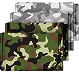 Camouflage Emergency Mylar Blankets (4-Pack) – Perfect for Outdoor Camping, Hiking, Survivalist, Shelters, Preppers, Hunting, First Aid Kit (Army Camo (2) and Winter Camo (2))