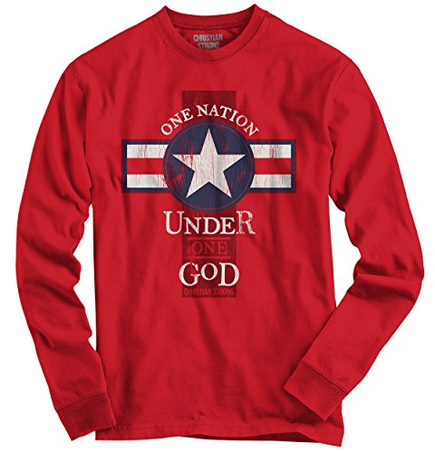Religious T-shirts Gods (One Nation Under God Christian Shirt | Jesus Christ Religious Long Sleeve Tee)