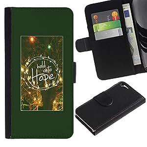 WonderWall Fondo De Pantalla Imagen Diseño Cuero Voltear Ranura Tarjeta Funda Carcasa Cover Skin Case Tapa Para Apple Iphone 5 / 5S - espero cartel de motivación noche de invierno