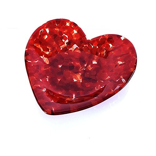 Sculptured Red Glass Heart Fruit Bowl Large Candy (Mosaic Fruit)
