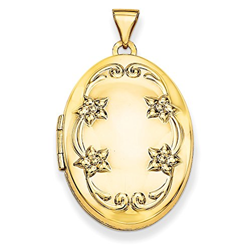 Roy Rose Jewelry 14K Yellow Gold 26mm Oval Floral Scroll Border Locket 26x20mm ()