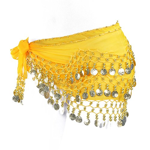 (Lilyy Chiffon Dangling Gold Coins Belly Dance Hip Skirt Scarf Wrap Belt (H-Yellow, Gold Coin))