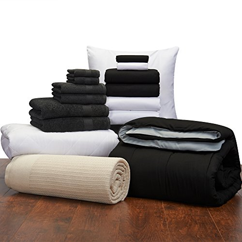 Guys 16 Piece Starter Pak Black and White Twin XL College Dorm Bedding and Bath Set (Starter Pak)
