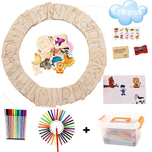 DIY Drawing Stencils Set for Kids, DUTISON 139pcs Art Set with Water Color Pen, Carrying Art Case, Pencil Sharpener, Art & Craft Activities to Enhance Childrens Creativity (139)