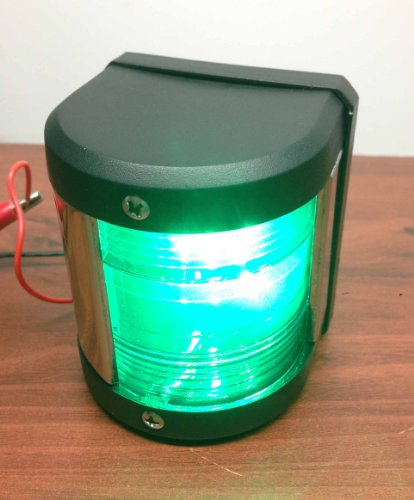 MARINE BOAT GREEN STARBOARD SIDE LED NAVIGATION LIGHT WATERPROOF BOATS UP TO (Led Starboard)