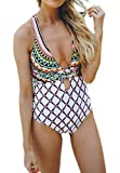 Summer Bay Womens Deep V-neck Cross-Back High Cut One Piece Monokini Swimsuit Pattern Swimmwear