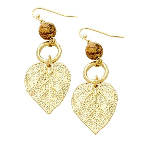 Rosemarie Collections Women's Semi Precious Stone Metal Leaf Dangle Earrings (Semi Hoop Wire Earrings)