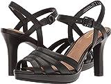 Clarks Women's Mayra Poppy Black Leather Sandal