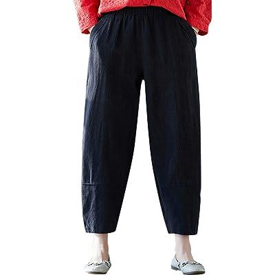 Pantalones Mujer Anchos Moda para Mujer De Algodón SóLido Y Lino Bolsillo Cintura EláStica Pantalones Sueltos Pantalón Casual Holgado Color Liso 2019 Nuevo: Ropa y accesorios