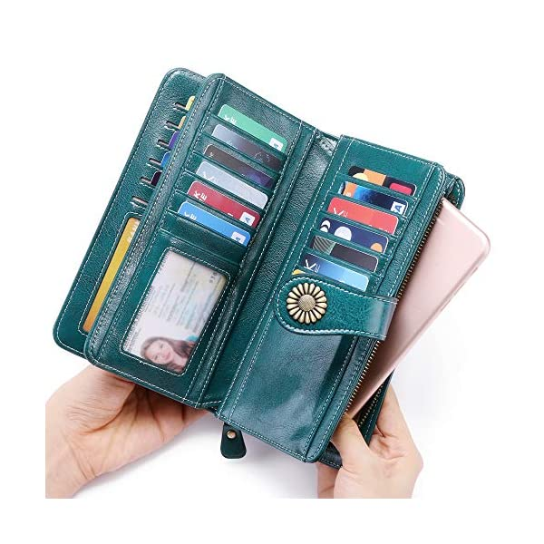 Women's Wallets, Large Capacity with Gift Box RFID Protection, Genuine Leather by SENDEFN