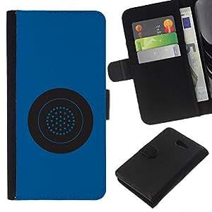 EJOY---La carpeta del tirón la caja de cuero de alta calidad de la PU Caso protector / Sony Xperia M2 / --Botón azul del círculo de la estrella Sistema Gris