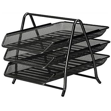 Malla 3 bandejas extraíbles, diseño de malla metálica negro 288102