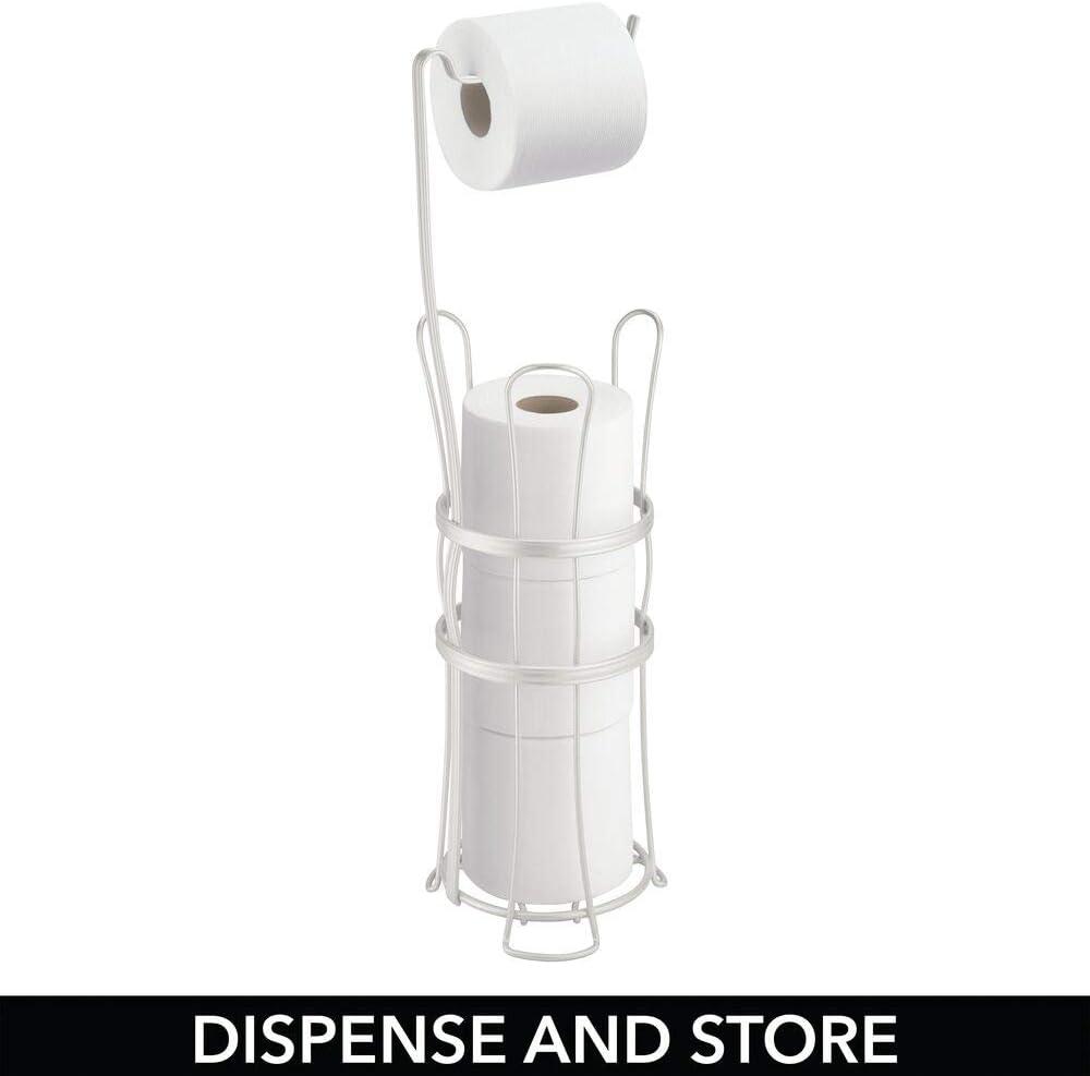 porte-rouleaux pour toilette sur pied chic avec espace de r/éserve pour papier d/érouleur de papier WC id/éal rangement salle de bain en acier mDesign support de papier toilette autoportant blanc